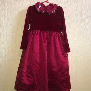 Jenny Annie Dots velvet/ satin dress collar detail